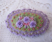Wool felt Hand embroidered Lilac& Green brooch