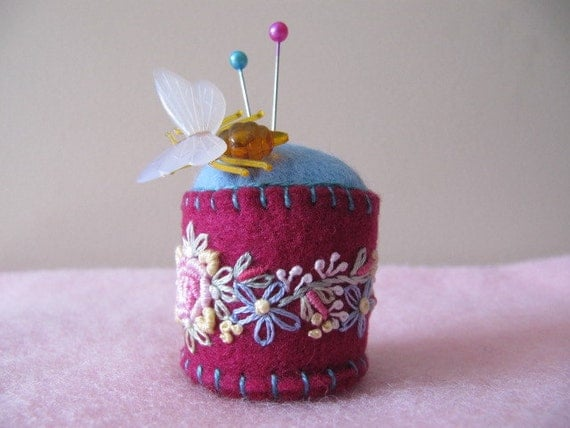Pincushion - felt -  Deep cerise and blue hand embroidered