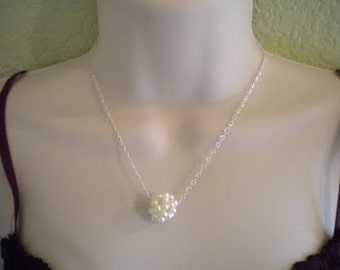 Freshwater Pearl Necklace, Pearl Ball Necklace, Bridesmaid Gift, Bridal Necklace, Pearl Ball PN004