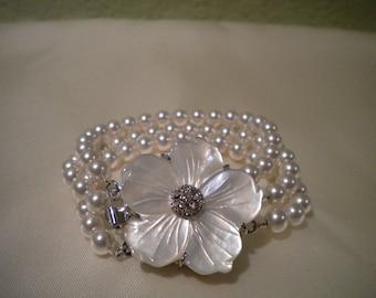 Daphne - Pearl Bridal Bracelet, Pearl Cuff, Mother of Pearl, Triple Strand Bracelet, bridal cuff