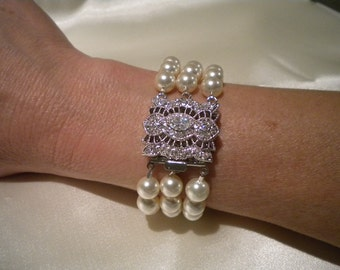 Bridal Cuff Bracelet, Ivory Pearl Bridal Bracelet, Bridal Jewelry, Wedding Jewelry Bracelet Victorian