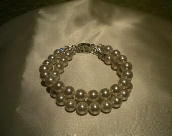 Weddings Accessories Pearl bracelet double strand bridal cuff bracelet Bridal jewelry -Tarrah PB003