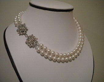 Double Strand Rhinestone and Pearl Necklace Bridal Jewelry Wedding Necklace Haleigh