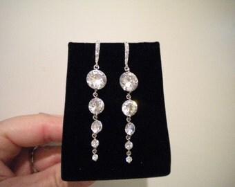 Long earrings, bridal earrings Cubic Zirconia, Dangle Earrings, CORA