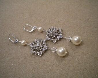 Long earrings, Rhinestone and Pearl Earrings, Swarovski Pearls, Wedding Earrings, JOANNA