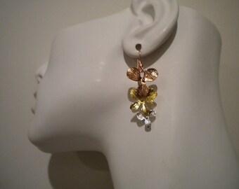 Orchid earrings, Bridal Earrings, bridesmaid jewelry - Dancing Orchid Trio, FE004