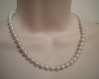 Pearl necklace and bracelet set, simple pearls, Vintage Style jewelry, bridesmaid set