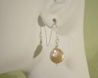 Pearl Earrings Champagne Pearl Earrings, Coin pearl, Freshwater Pearl Earrings, Weddings Accessories