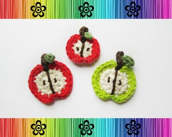 PATTERN-Crochet Apple Applique-Great for Back to School or Teachers-Detailed Photos