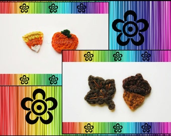PATTERN-Crochet Leaf, Acorn, Pumpkin, and Candy Corn Applique-Perfect for Autumn-Detailed Photos