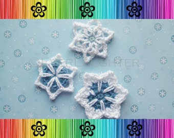 CROCHET PATTERN - Snowflakes (3 styles) - Detailed Photos