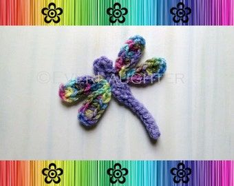 Dragonfly Applique - CROCHET PATTERN (PDF) Detailed Photos