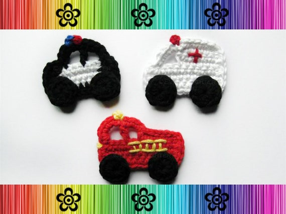 PATTERN PACK of 3 Crochet Applique-Police Car, Fire Truck, and Ambulance