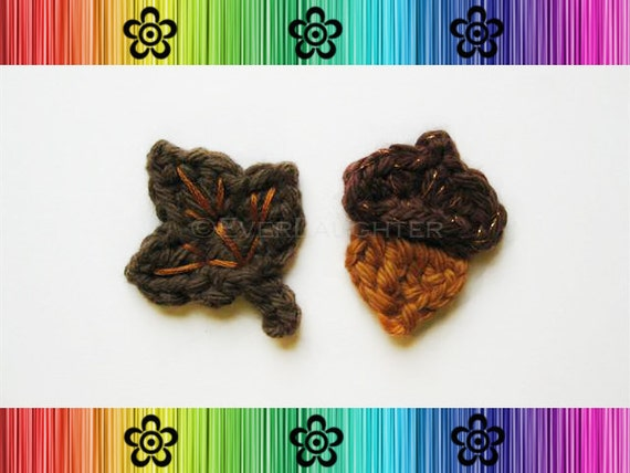 CROCHET PATTERN - Autumn Leaf and Acorn Applique - Detailed Photos