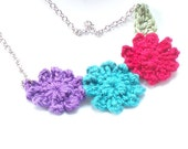 Flower Blossom Necklace in Purple, Teal, Red, Green - Crochet Necklace
