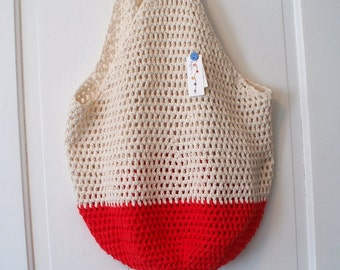 Crochet Beach Bag in Sand and Red Oversize Crochet Cotton Tote Bag