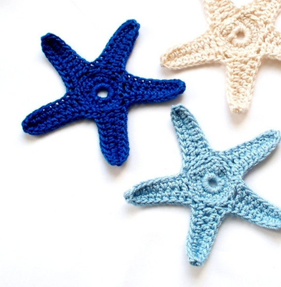 RESERVED FOR ELIZABETH Colorful Crochet Starfish in Dark Blue, Light Blue, and Natural Ready to Ship