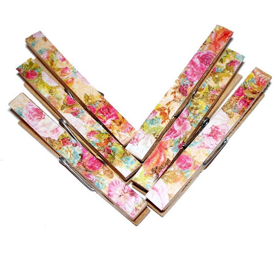 Decoupaged Clothespins Colorful Floral Pattern - Set of 6