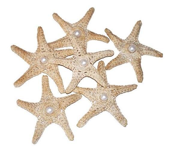 Crochet Starfish / Sea Stars w/Faux Pearl Center - Set of 6