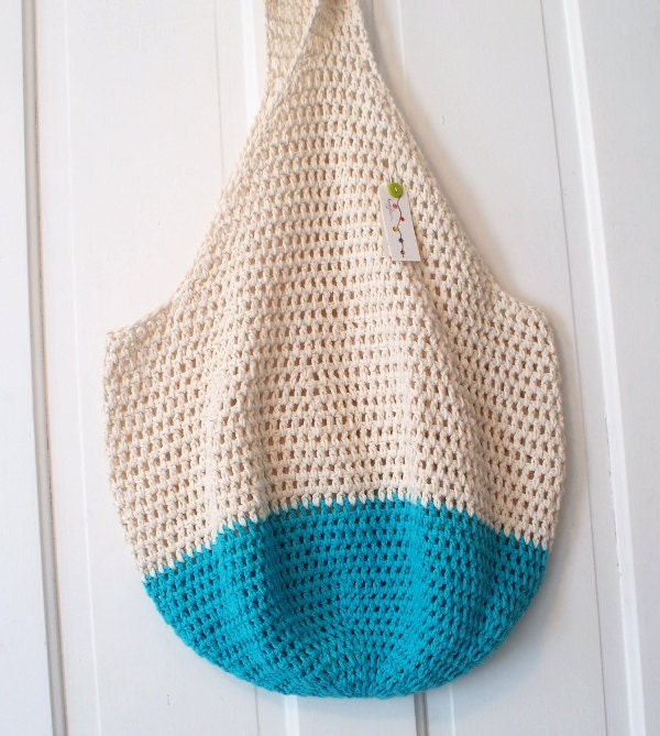 Beach Bag Crochet : Crochet Beach Bag in Sand and Bright Blue Oversize by KnellyBean