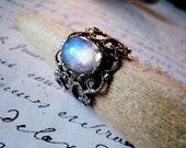 Vintage look rainbow moonstone ring.  Antiqued silver.  Romantic Victorian style.