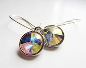 Rainbow earrings. Crystal earrings. Rivoli earrings. Rainbow crystal. Multicolor earrings. Long dangle earrings. Crystal jewelry.