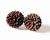 Chocolate brown flower clip on earrings.  In silver. For unpierced ears.