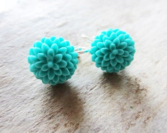Turquoise flower. Turquoise earrings. Clipon earrings. Teal flower earrings. Teal mum earrings. Teal earrings. Turquoise mum. Chrysanthemum.