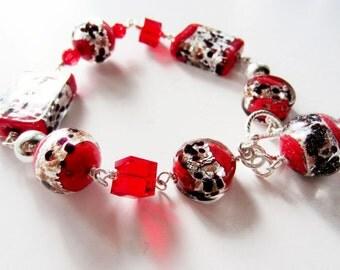 Red bracelet.  Lampwork bracelet.  Venetian glass bracelet.  Sterling silver bracelet.