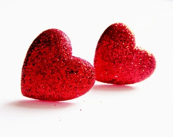 Glitter red heart earrings.  Sterling silver.  Stud post style.