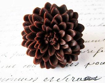 Chrysanthemum ring. Chocolate brown ring. Dark brown ring. Coffee brown ring. Brown flower ring. Brown mum ring. Large flower ring.