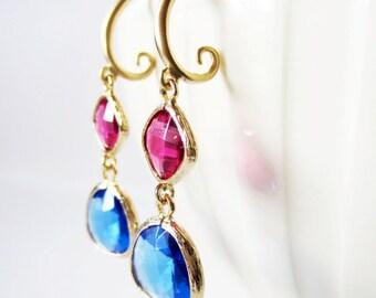 Fuchsia earrings. Pink earrings. Cobalt blue earrings. Gold earrings. Framed glass earrings. Pendant earrings. Pink blue earrings.