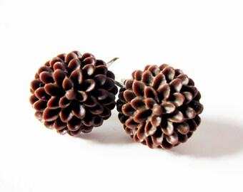 Chocolate brown flower clip on earrings.  In silver. For unpierced ears.