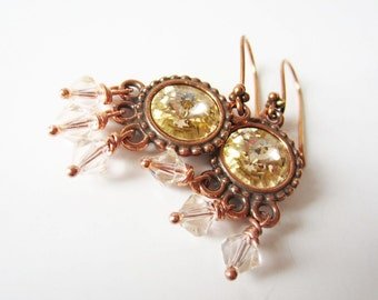 Champagne silk rivoli dangle earrings in antiqued copper by Littlebearsmom