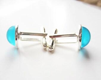 Frosted aqua cuff links.  Blue cuff links.  Glass cuff links.  Silver cuff links. French cuff shirt.