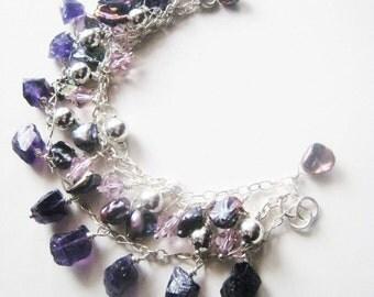 Purple bracelet.  Amethyst bracelet.  Sterling silver bracelet.  Charm bracelet.  Multiple strand bracelet.