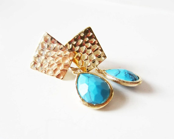 Turquoise earrings. Gold dangle earrings. Stud earrings. Post earrings. Green blue earrings. Framed glass earrings.Teal earrings