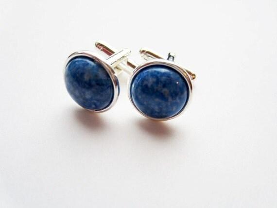 Genuine denim blue lapis lazuli stone silver bezel set cuff links for French cuffs