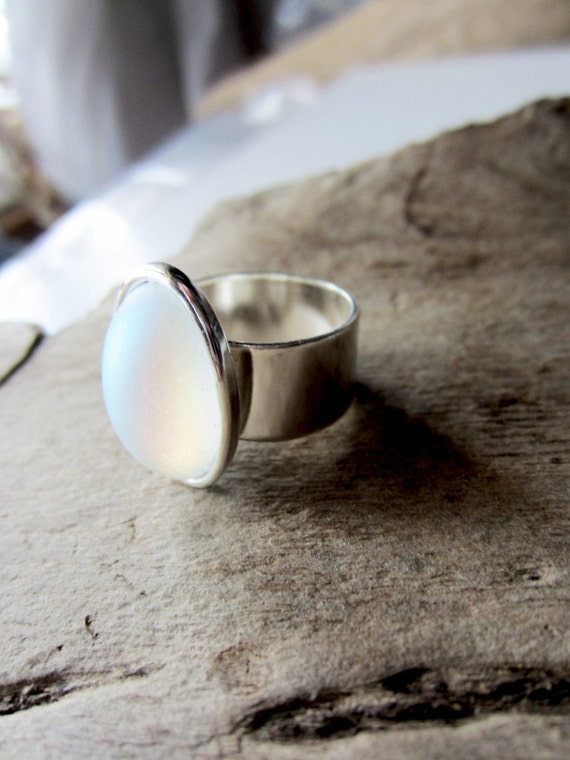 White opal frosted glass silver ring beach inspired