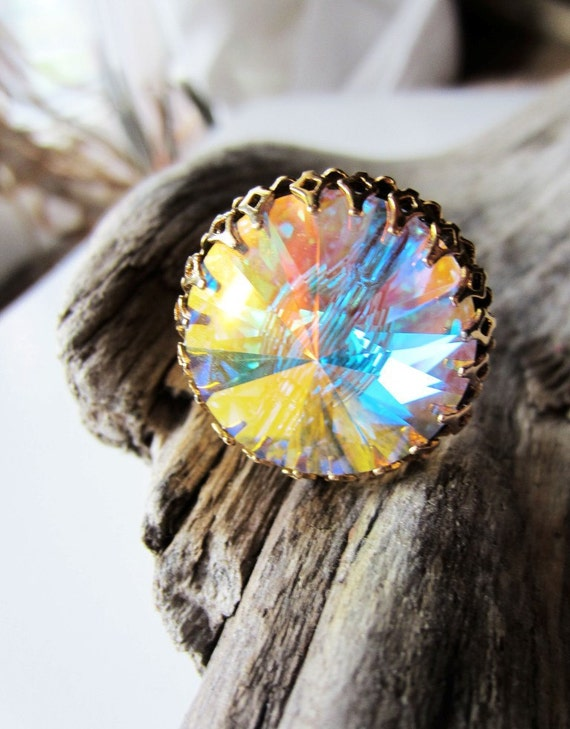 Psychedelic rainbow crystal ring.  In hammered gold.