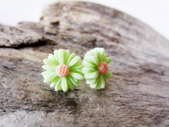 Lime green daisy stud post earrings in sterling silver