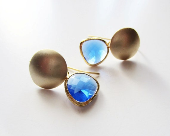 Gold circle and cobalt blue drop earrings.  Geometric. Dangle style.  Framed glass pendant.