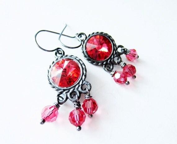 Padparadscha earrings. Rivoli earrings. Antiqued silver earrings. Peach earrings. Grey earrings. Peach crystal earrings. Orange earrings.
