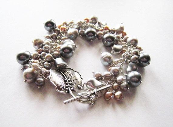 Grey pearl bracelet.  Sterling silver bracelet.  Ornate toggle clasp.