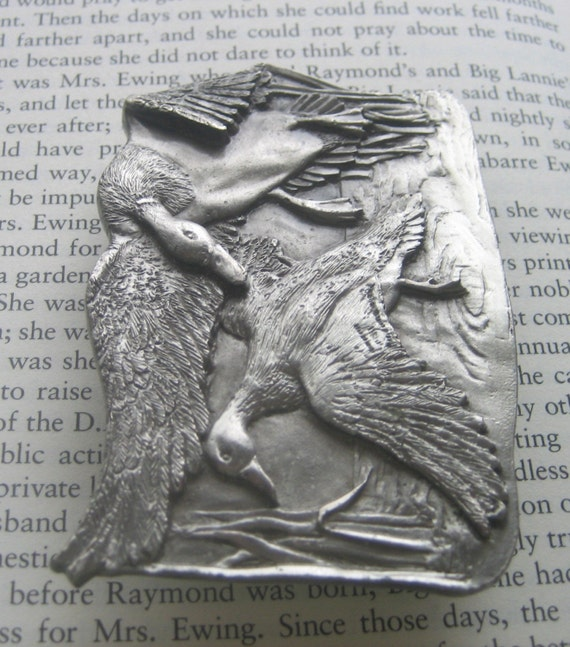 Vintage Silver BIRDS OF A FEATHER Belt Buckle