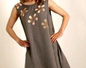 Gracious Mink Handpainted Flower  Dress