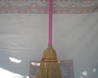 Pink Child Broom that works well  broom corn handmade new kid's Vintage looking toy broom