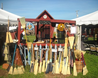 Handmade Fireplace or Hearth Broom-Besom- corn-broom-Wicca-Pagen-round brooms Wicked good wooden handle tool countryA