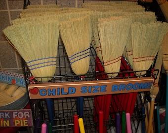 Blue kids broom- child broom-toy broom- handmade broom-corn broom-fireplace broom-fun item