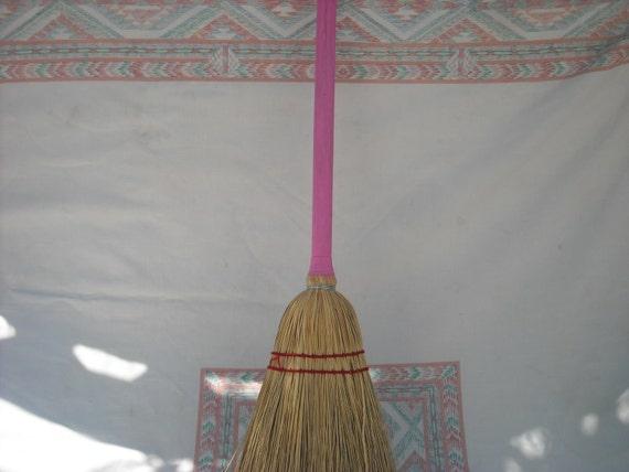Pink Child Broom That Works Well Broom Corn Handmade New